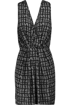 TOMAS MAIER Wrap-effect printed stretch-jersey mini dress