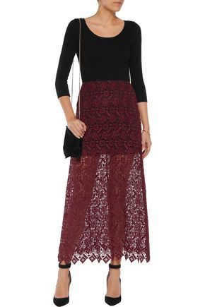 ALICE + OLIVIA Jojo jersey and lace maxi dress