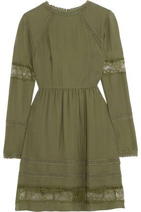 ALICE + OLIVIA Janae lace-trimmed silk crepe de chine mini dress