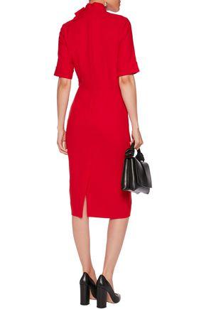 GOAT Bow-embellished wool-crepe dress