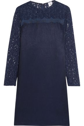 IRIS & INK Bridie lace-paneled twill mini dress