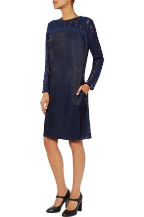 IRIS AND INK Bridie lace-paneled twill mini dress