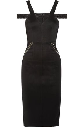 SAFIYAA Open-knit paneled ponte dress