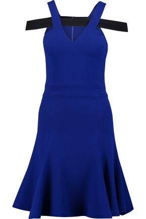 SAFIYAA Cutout fluted crepe mini dress