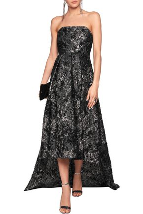 SAFIYAA Strapless layered metallic brocade gown