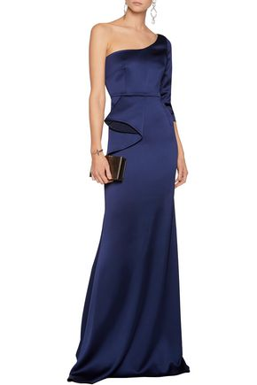 SAFIYAA One-shoulder ruffled satin gown