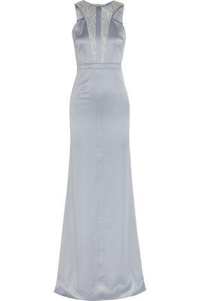 SAFIYAA Lace-paneled satin gown