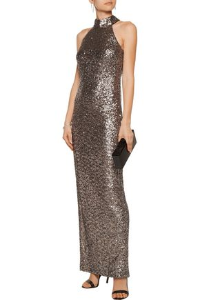 BADGLEY MISCHKA Sequined tulle gown
