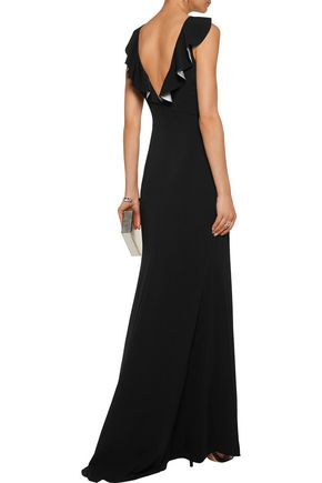 BADGLEY MISCHKA Ruffled silk-trimmed crepe gown