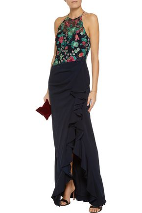 BADGLEY MISCHKA Embroidered mesh and stretch-crepe gown