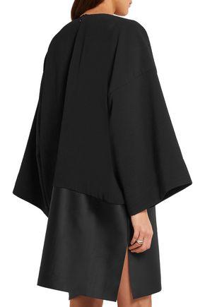 SOLACE LONDON Lulu paneled plissé-crepe and satin mini dress