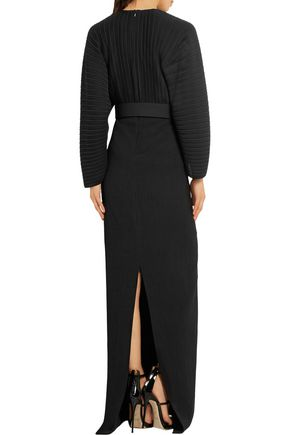 SOLACE LONDON Oxana paneled plissé-chiffon and stretch-crepe maxi dress