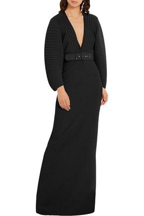 SOLACE LONDON Oxana paneled plissé-chiffon and stretch-crepe maxi dress