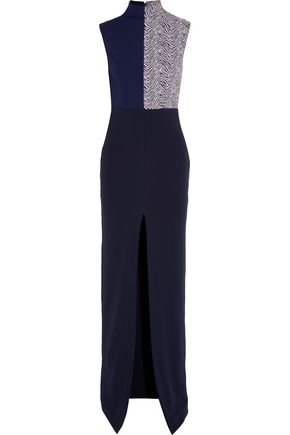 SOLACE LONDON Solane jacquard-paneled crepe maxi dress