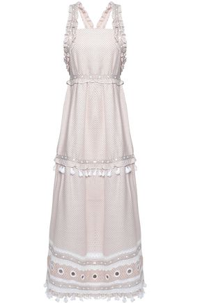 DODO BAR Or Embellished lace-trimmed cotton-jacquard midi dress