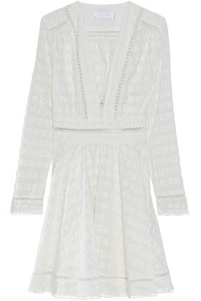 ZIMMERMANN Pleated broderie anglaise cotton and silk-blend dress