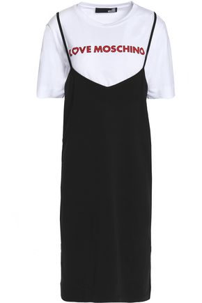 LOVE MOSCHINO Layered color-block cotton-jersey mini dress