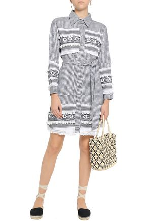 DODO BAR OR Embellished woven and houndstooth cotton-jacquard mini shirt dress