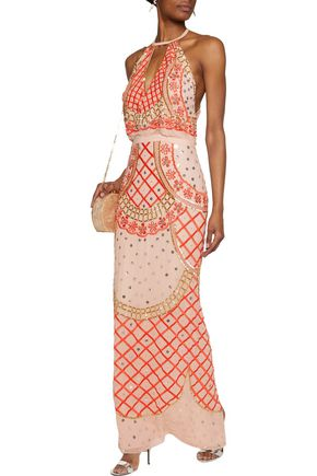 TEMPERLEY LONDON Kekipi cutout embellished silk-crepe maxi dress