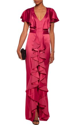 TEMPERLEY LONDON Luna ruffled cutout satin gown