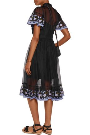 TEMPERLEY LONDON Elette embroidered tulle-trimmed crepe midi dress