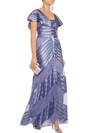 TEMPERLEY LONDON Paneled mesh and satin gown