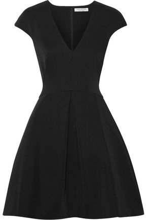 HALSTON HERITAGE Pleated cady and bonded satin mini dress