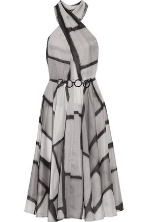 HALSTON HERITAGE Layered pleated printed voile dress