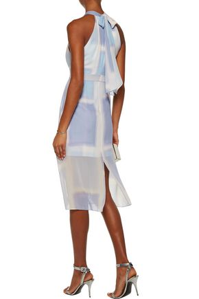 HALSTON HERITAGE Layered printed silk-chiffon dress
