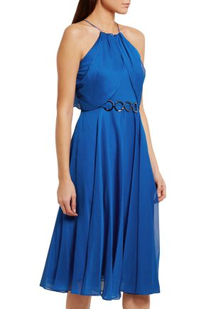 HALSTON HERITAGE Embellished georgette dress