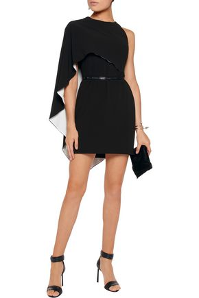 HALSTON HERITAGE Asymmetric draped crepe mini dress