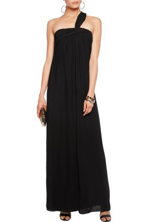 HALSTON HERITAGE One-shoulder draped georgette gown