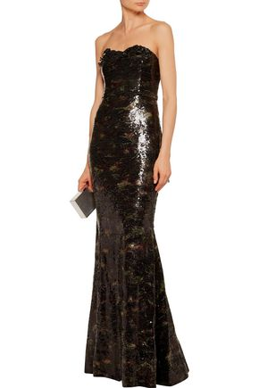 MARCHESA NOTTE Sequined tulle gown