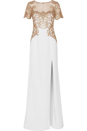 MARCHESA NOTTE Embroidered tulle and stretch-crepe gown