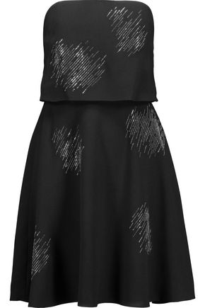 HALSTON HERITAGE Layered crystal-embellished crepe mini dress
