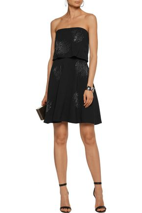 HALSTON HERITAGE Layered crystal-embellished crepe mini dress