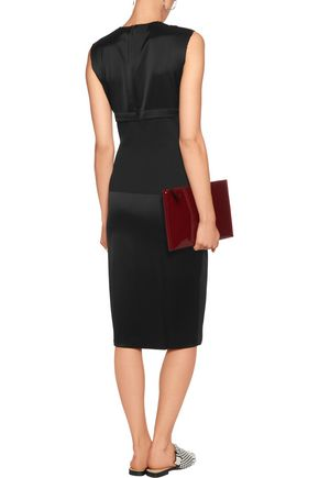 DKNY Paneled jersey and crepe dress