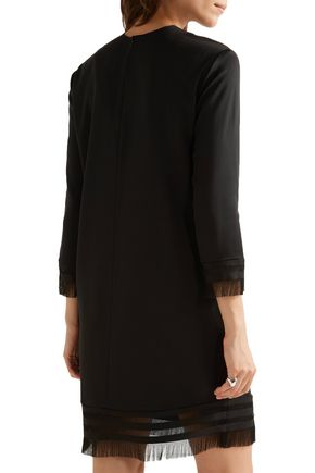 DKNY Fringed stretch-twill mini dress