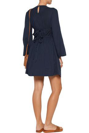 SEA Tasseled embroidered cotton-broadcloth mini dress