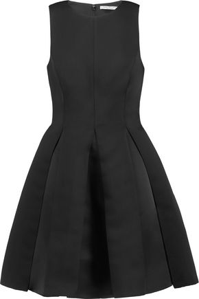 HALSTON HERITAGE Pleated satin-twill mini dress