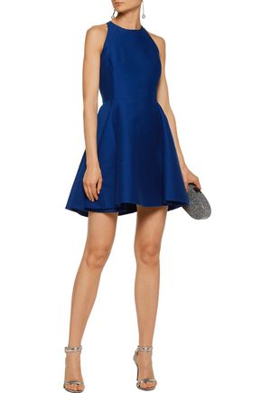 HALSTON HERITAGE Fluted cotton and silk-blend mini dress