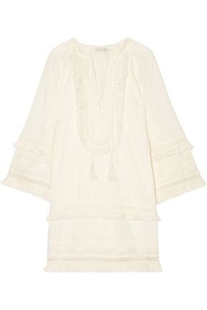 RACHEL ZOE Abigail fringed broderie anglaise cotton mini dress