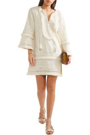 RACHEL ZOE Abigail fringed broderie anglaise cotton mini dress