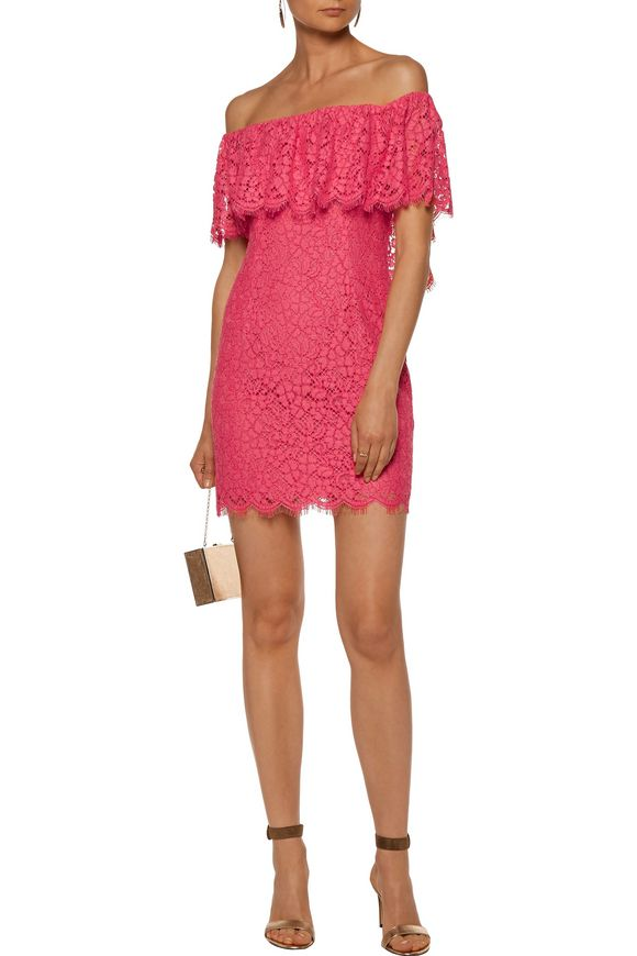 Adelyn off-the-shoulder lace mini dress | RACHEL ZOE | Sale up to 70% off |  THE OUTNET