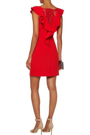 RACHEL ZOE Deandrea lace-paneled ruffled crepe mini dress