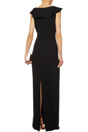 RACHEL ZOE Marty lace-paneled ruffled cady gown