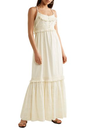 RACHEL ZOE Riley fringed broderie anglaise cotton maxi dress