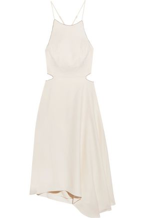 HALSTON HERITAGE Asymmetric chain-trimmed crepe dress