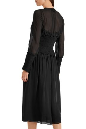 JOSEPH Cora smocked silk-georgette midi dress