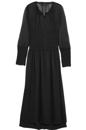 JOSEPH Cora smocked silk-georgette midi dress